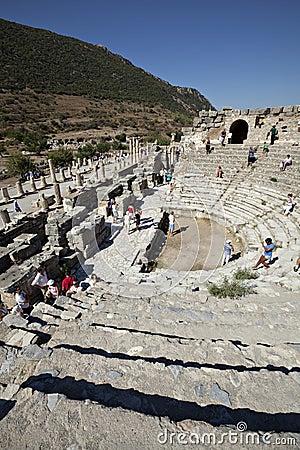 Ephesus伊兹密尔odeion火鸡 编辑类照片
