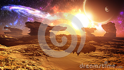 Epic Glorious Alien Planet Sunset With Galaxy