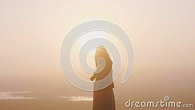 Epic silhouette shot van een gelukkige toeristenvrouw die een smartphonevideo maakt van een ongelofelijke roze foggy zonsondergan stock footage