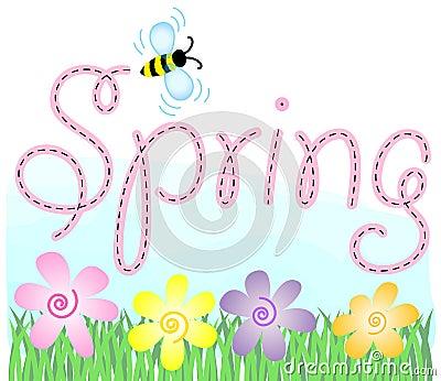 Στοκ εικόνες: eps μελισσών άνοιξη λουλο