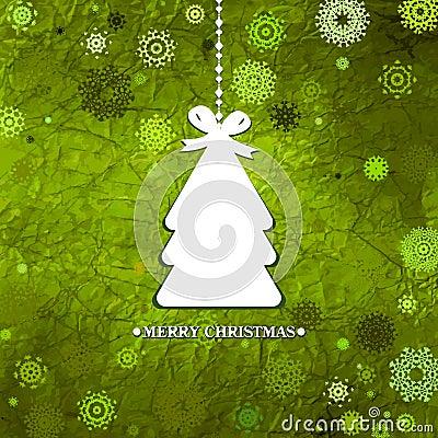 装饰的绿色圣诞树。EPS 8