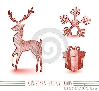 Τα κόκκινα στοιχεία ύφους σκίτσων Χαρούμενα Χριστούγεννας καθορισμένα το αρχείο EPS10.