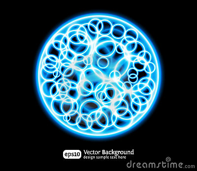 Eps10 bright effects round blue background