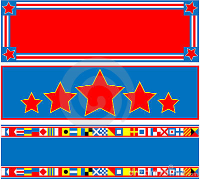 EPS8 Vector 3 Red White Blue Banners with Copy Spa