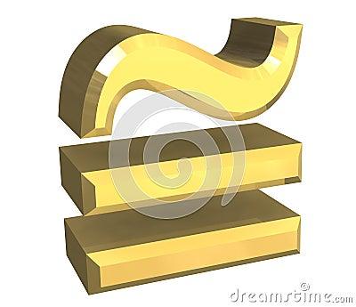 Equal circa math symbol in gold