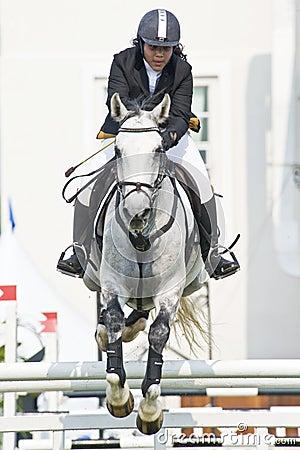 Equestrian doskakiwania przedstawienie Zdjęcie Stock Editorial