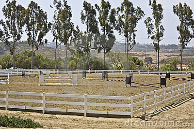 Equestrian hunter/jumper show ring