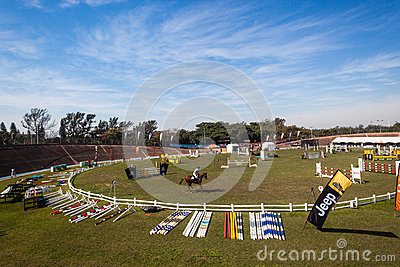 Equestrian Horse Jumping Arena  Editorial Photo