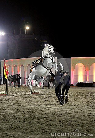 Equestrian performs on March 26, 2012 in Bahrain Editorial Image