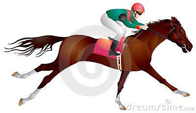 Equestrian sport horse and rider in