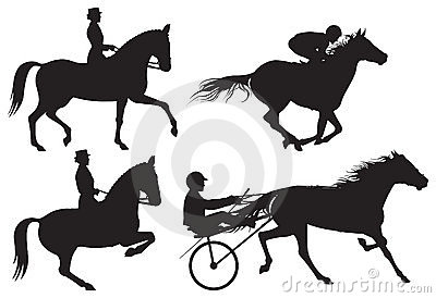 Equestrian sport horses and riders  silhouet