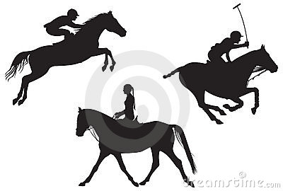 Equestrian sport vector silhouettes 2