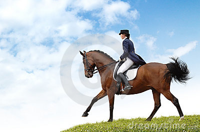 Equestriat, dressage - woman and bay horse