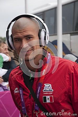 Equipa de futebol olímpica de Jorge Enríquez México Foto de Stock Editorial