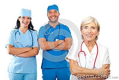 Equipa médica feliz