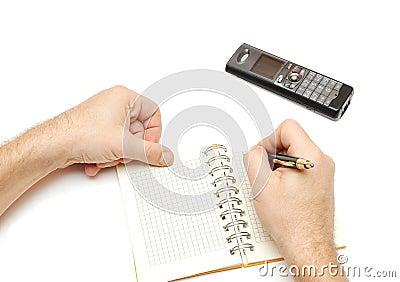 Equipaggi la penna e la scrittura di holding nel pianificatore settimanale,