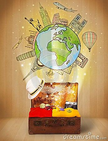 Equipaje con concepto del ejemplo del viaje en todo el mundo