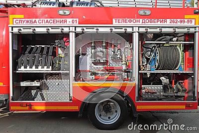 Equipamento do carro de bombeiros Fotografia Editorial