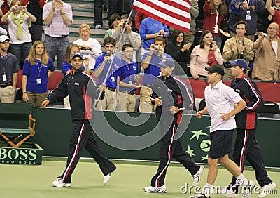 Equipe do tênis do copo dos E.U. Davis Fotografia Editorial