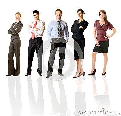 Equipe feliz do negócio, isolada