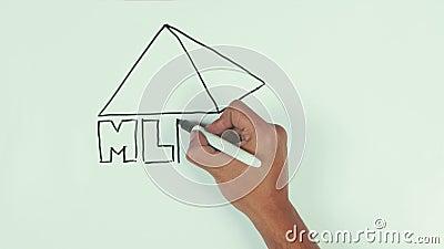 Equipe a pirâmide dimensional da tração com letras usando a pena de marcador preta no whiteboard video estoque