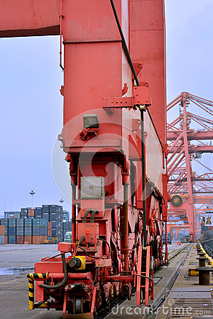 Equipment of container yard, Xiamen port, China Editorial Stock Image