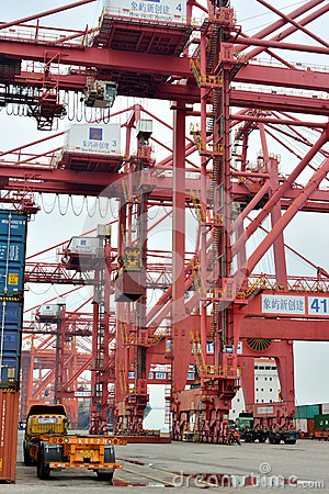 Equipment and operation in container dock, Xiamen, China Editorial Photography