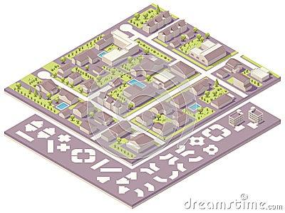 Equipo isométrico de la creación del mapa de la pequeña ciudad