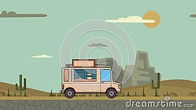Equitação animado do caminhão do alimento através do deserto da garganta Veículo movente no fundo da paisagem Animação lisa video estoque