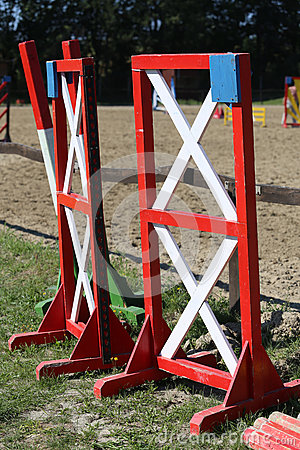 Free Equitation Obstacles Bars For Horse Jumping Event Stock Image - 61819671