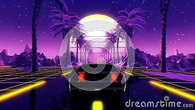 80er-Jahre-Retro-futuristische, nahtlose sci-fi-Schleife VJ-Landschaft mit Vintage-Wagen vektor abbildung