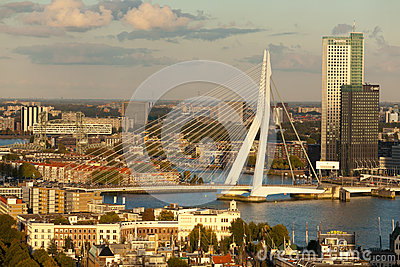 Erasmus Bridge and Central Rotterdam Editorial Photography
