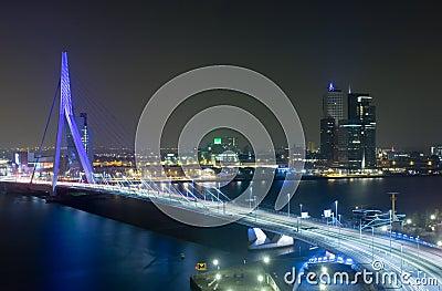 Erasmus Bridge by Night Editorial Stock Image