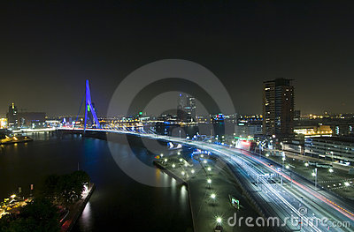Erasmus Bridge by Night Editorial Image