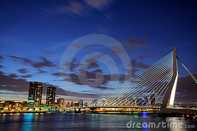 Erasmus bridge, Rotterdam at night Editorial Photo