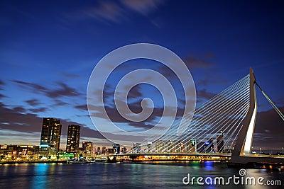 Erasmus bridge, Rotterdam at night Editorial Photo