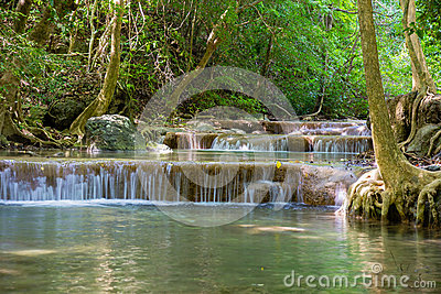 Erawan waterfall in deep forest