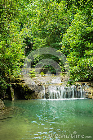 Erawan waterfall in deep forest