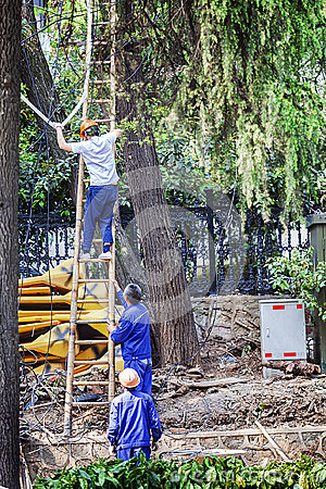 Free Erecting Cable Workers Stock Photography - 98288352