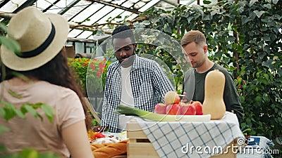 Erfreuliche junge Leute, die Bio-Lebensmittel auf dem Markt kaufen, sprechen mit Verkäuferin stock footage