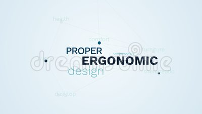 Ergonomic proper design contemporary furniture business comfort therapeutic work desktop health animated word cloud. Background in uhd 4k 3840 2160 stock video