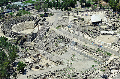 Erial  view of ancient Beit Shean in Israel Editorial Stock Image