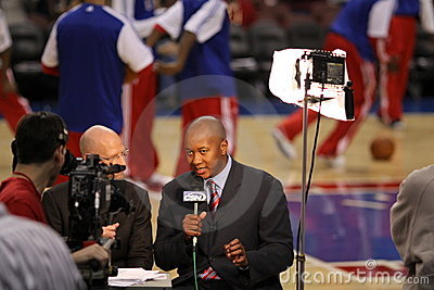 Eric Snow - 76ers color analyst , Marc Zumoff Editorial Stock Image