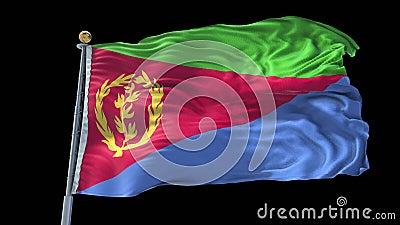 Eritrea - geanimeerde vlagverpakking in 3D en groen scherm stock videobeelden