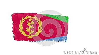 Eritrea vlag geschilderd met een borstelslag stock illustratie