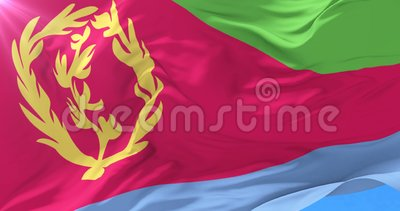 Eritrese vlag die bij wind met blauwe hemel in langzaam, lijn golven stock illustratie