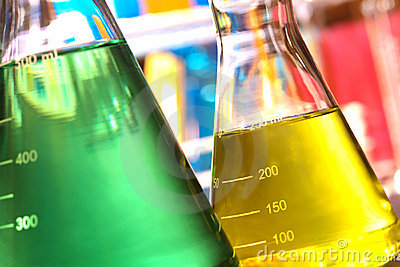 Erlenmeyer Flasks in Science Research Lab
