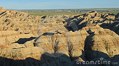 Eroded buttes throwing shadows, Badlands NP