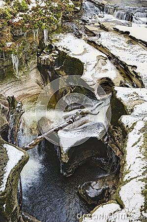 Eroded rocks and lake