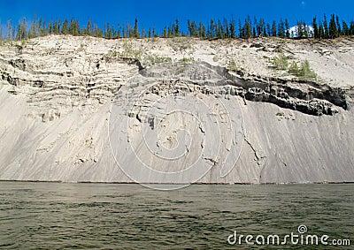 Erosion on cutbank of Yukon River in Canada
